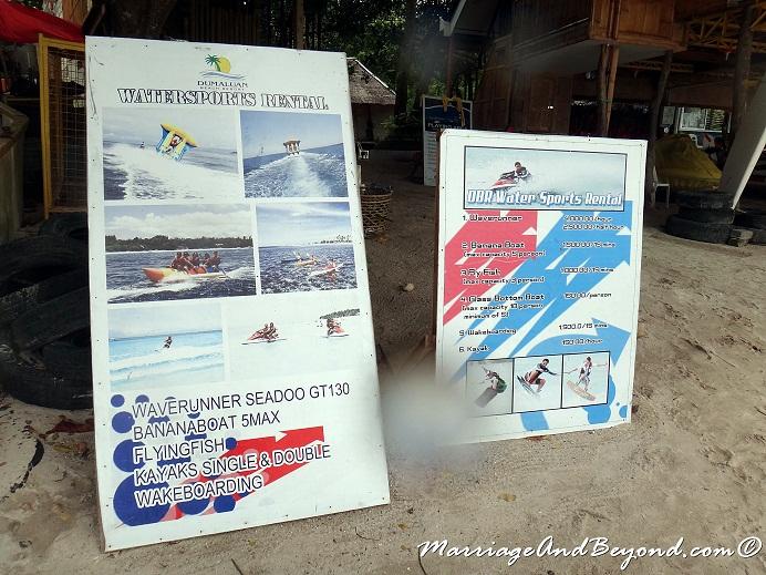 Dumaluan Beach Resort water sports rental