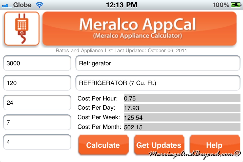 Compute your monthly electric consumption through meralco's m. A. C.