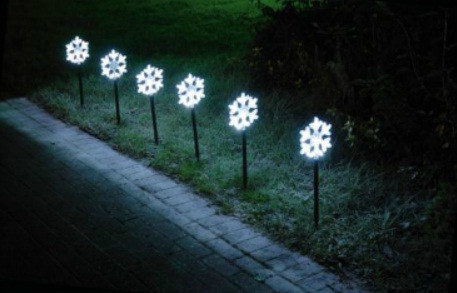 Festive White Snowflake Path Markers Christmas Lights