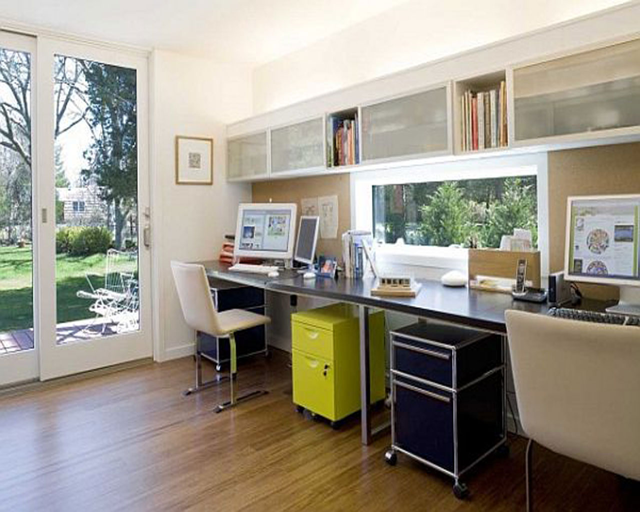 modern custom home office design with natural lighting