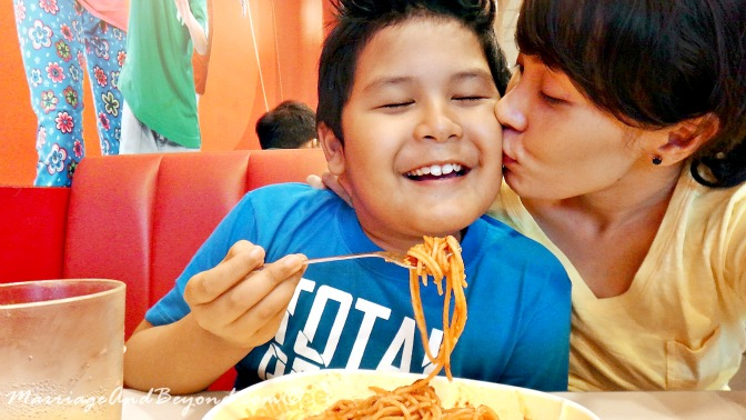 mom and son date at jollibee