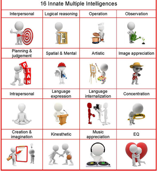 16 multiple intelligences