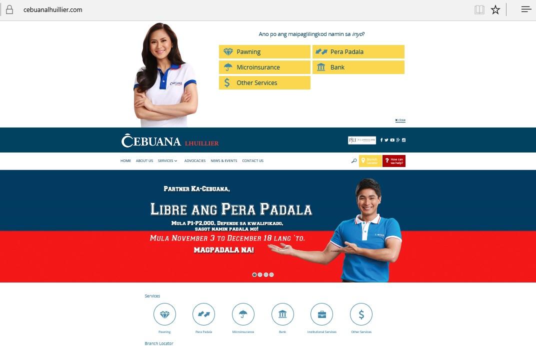 Cebuana Lhuillier website