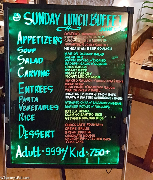Mario's Sunday Lunch Buffet offerings