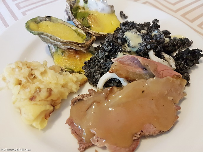 Mario's Oysters Rockefeller, Mashed Potato Paella Negra and Roast Beef