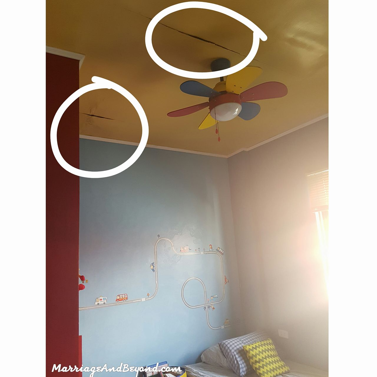 kid's room roofing problem ceiling leak