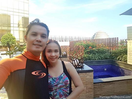 hyatt cdo honeymooners at the pool