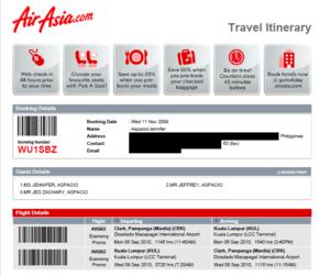 Air Asia flight itinerary