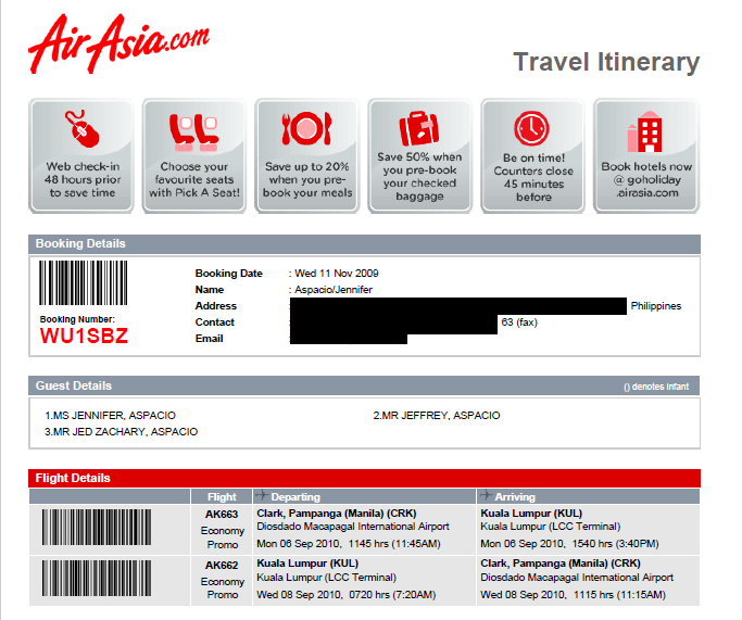 Air Asia flight itinerary