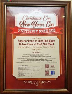 bayview park hotel festivity packages