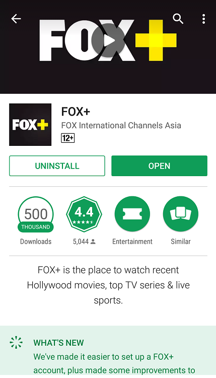 FOX Movies App on Android