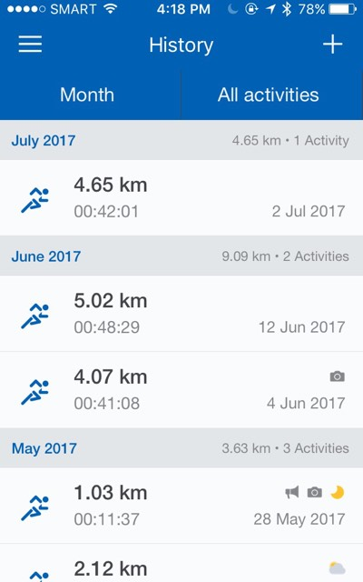 runtastic run history