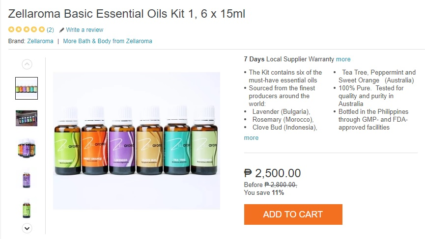 Zellaroma Essential Oils on Lazada