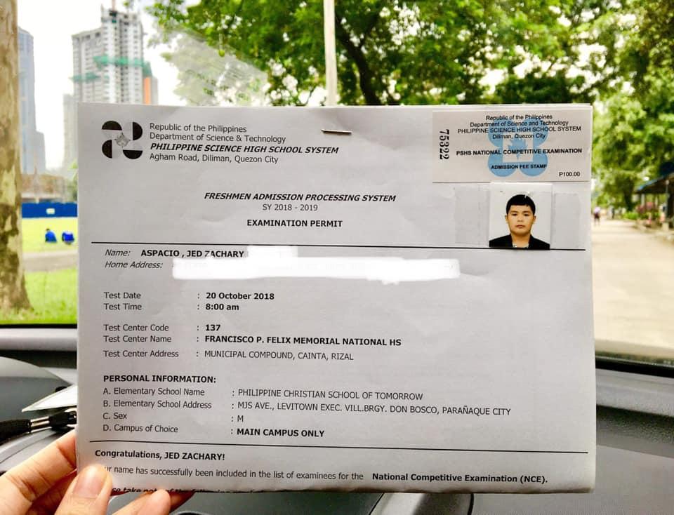 pisay nce exam permit